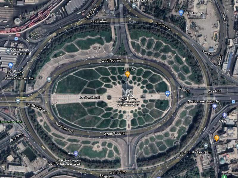 نقشه ماهوارهای میدان آزادی تهران