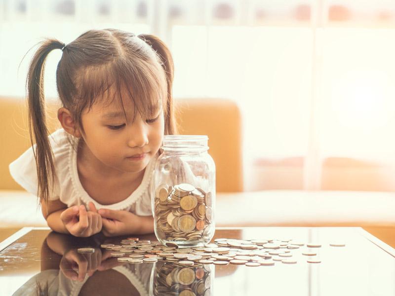 سکههای جمع شده کودک