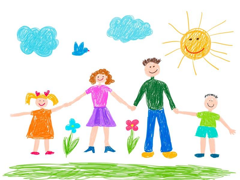 نقاشی خانواده شاد